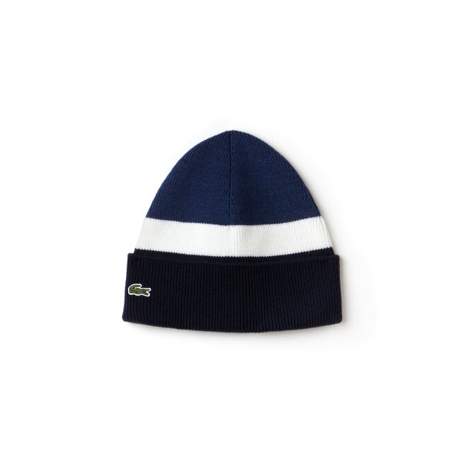 Men's Made In France Ribbed Colorblock Turned Edge Wool Beanie