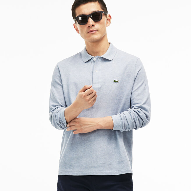Lacoste classic fit long-sleeve polo in marl petit piqué