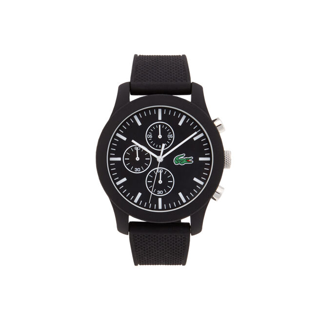 Lacoste.12.12 chronograph watch with black silicone strap