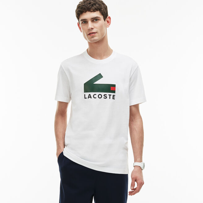 Men's Crew Neck Graphic Crocodile Branding Cotton Jersey T-shirt