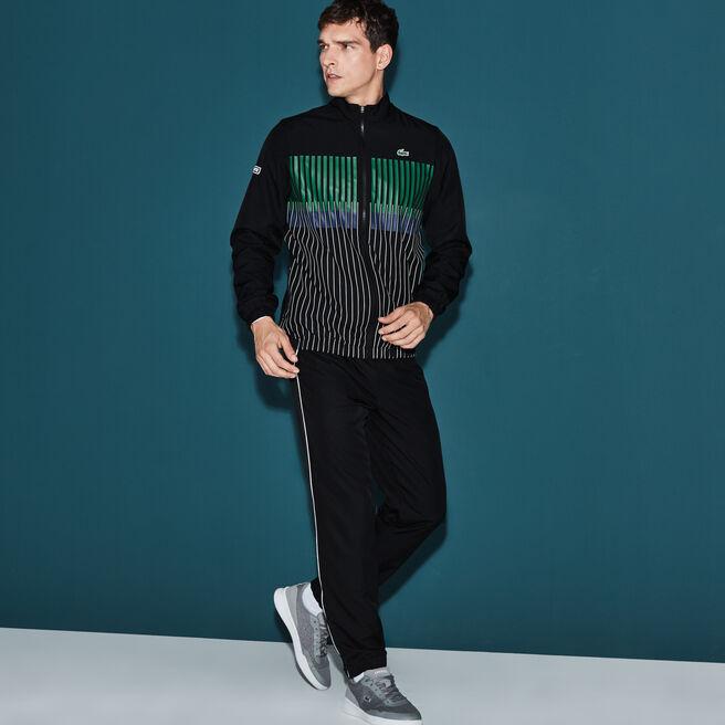 Men's Lacoste SPORT Tennis Striped Brand Design Tracksuit