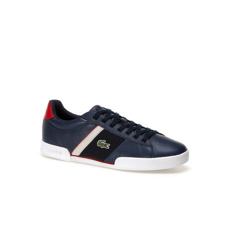 Flache Leder-Sneaker Deston mit Netzstoffeinsätzen