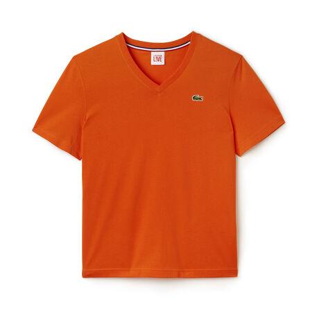Ultra Slim Fit T-Shirt mit V-Ausschnitt aus Jersey LACOSTE LIVE
