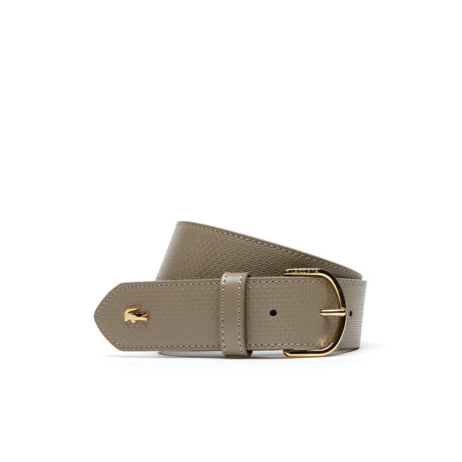 Chantaco belt in petit piqué embossed leather with fine gold-tone buckle