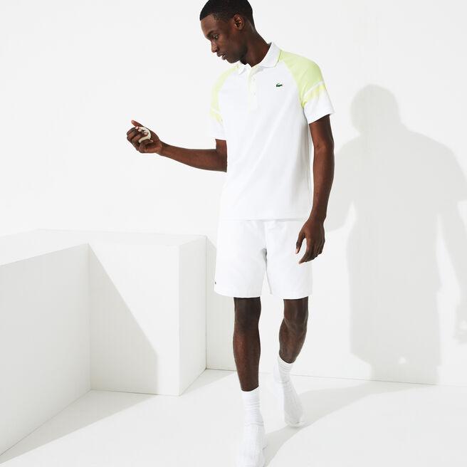 Men's Lacoste SPORT tennis shorts in solid diamond weave taffeta