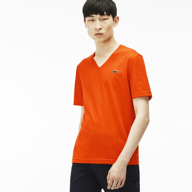 Men's Ultra-slim fit V-neck Lacoste LIVE T-shirt in jersey