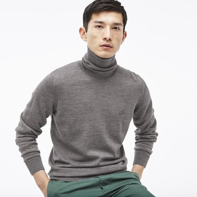 Men's Turtleneck Wool Jersey Sweater