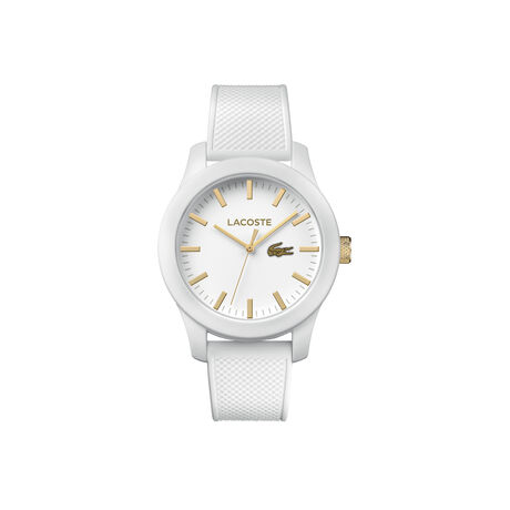 Lacoste.12.12 watch with white silicone strap and yellow gold details on the dial