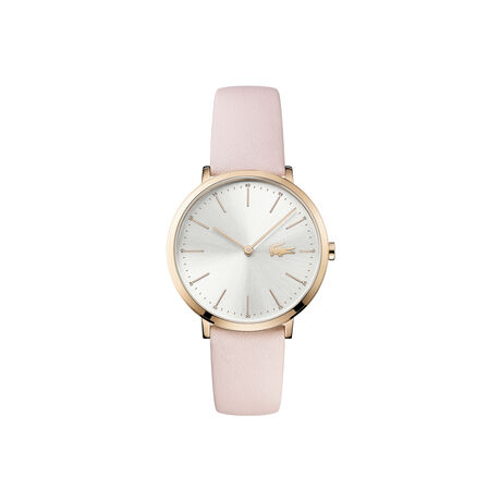 Lacoste Moon Watch Lady Extra-slim white dial pink leather strap