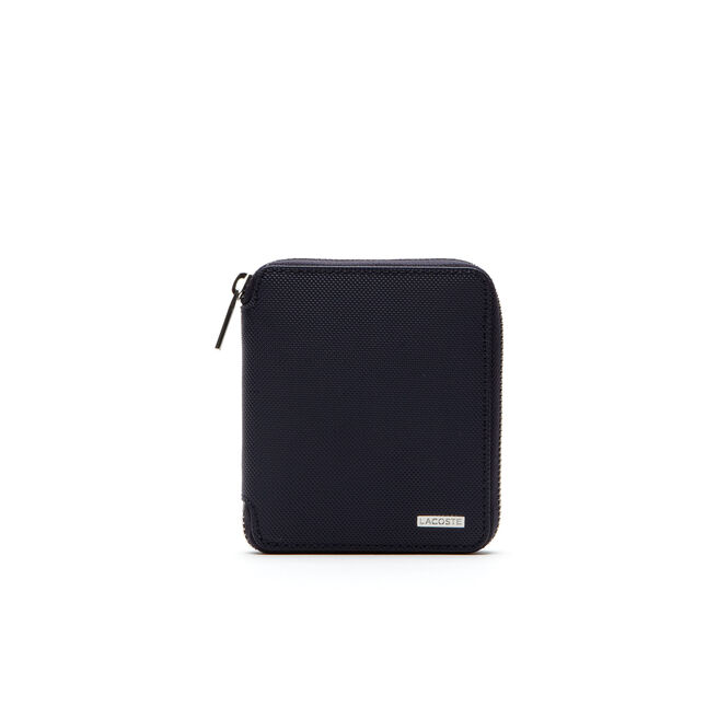 Edward zippered wallet in two-tone leather