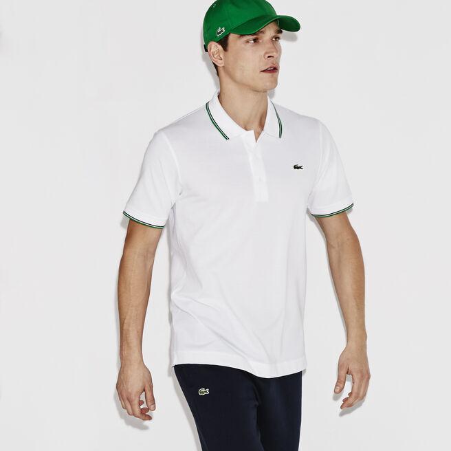 Polo Lacoste Tennis de corte regular de punto ultra ligero con cordoncillo colorido