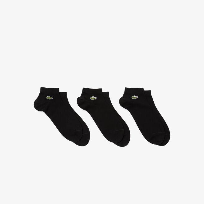 Lote de tres pares de calcetines bajos Lacoste Tennis de punto jersey liso