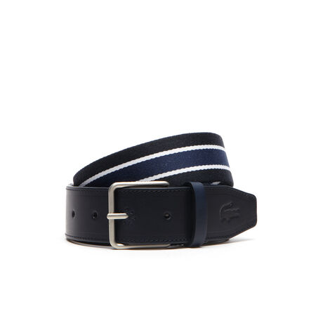Belt in canvas with matte leather tip