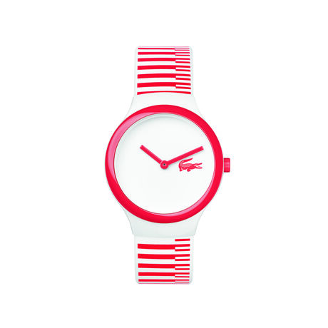 Montre Goa new blanche rayures rouges