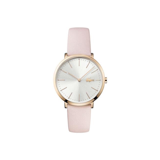 Orologio Moon Donna Extra-piatto Quadrante bianco Cinturino in pelle rosa