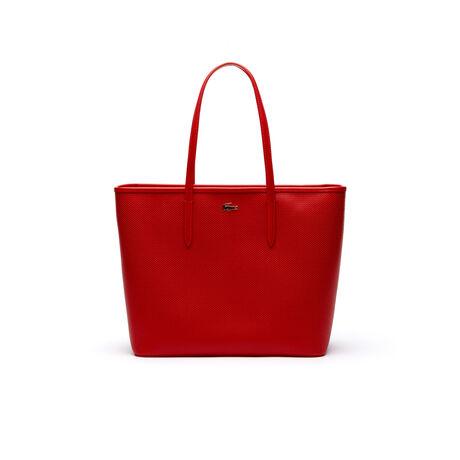 Shopping bag grande con zip Chantaco in pelle a piqué tinta unita