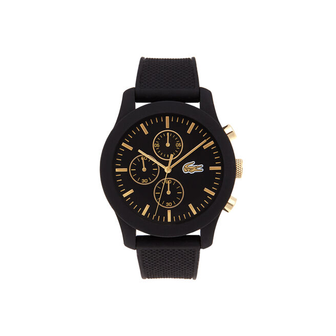 Lacoste.12.12 chronograph watch with black silicone strap with yellow gold details on dial