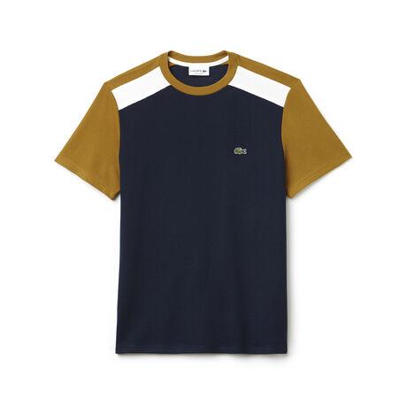 T-shirt a girocollo in jersey e piqué color block