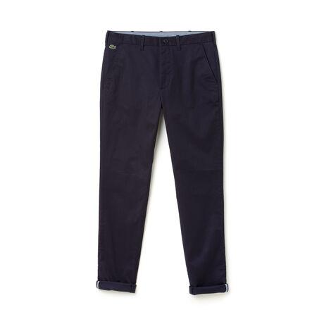 Pantaloni chino Lacoste LIVE in twill stretch tinta unita