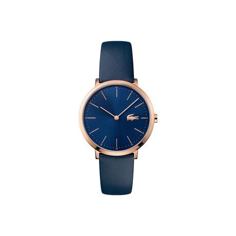 Orologio Moon Donna Extra-piatto Quadrante blu Cinturino in pelle blu
