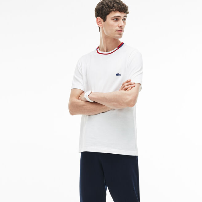 T-shirt a girocollo con righe a contrasto in petit piqué tinta unita