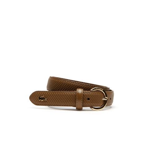 Cintura Chantaco in pelle stampata a petit piqué e fibbia dorata