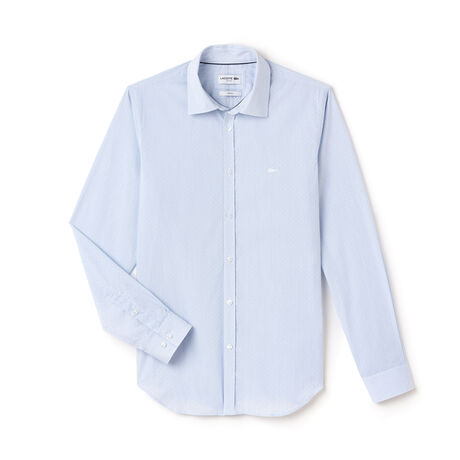 Camicia slim fit in popeline jacquard a pois e righe