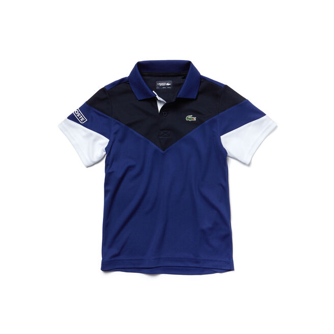 Polo Bambino Tennis Lacoste SPORT in piqué tecnico color block