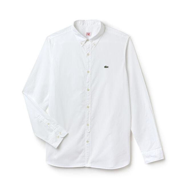 Camicia slim fit Lacoste LIVE in popeline di cotone tinta unita