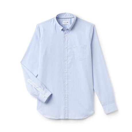 Camicia regular fit in popeline a mini quadretti