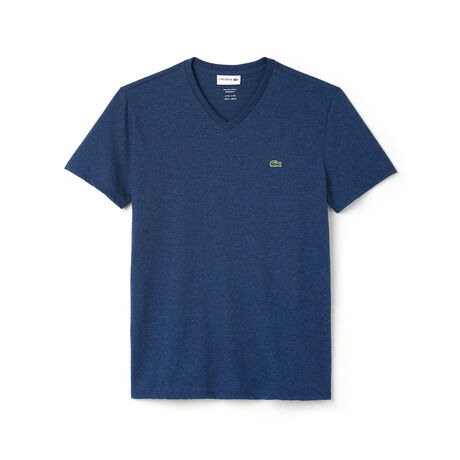 T-shirt con collo a V in jersey di cotone Pima tinta unita