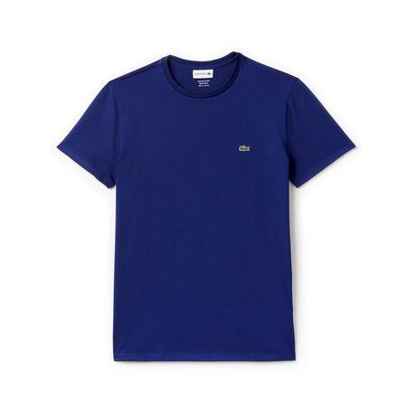 T-shirt a girocollo in jersey di cotone Pima tinta unita