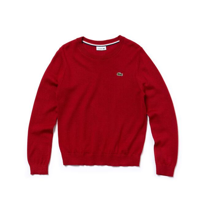 Pullover a girocollo Bambino in jersey di misto lana tinta unita