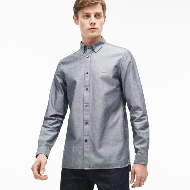 Camicia slim fit in piqué di cotone unita