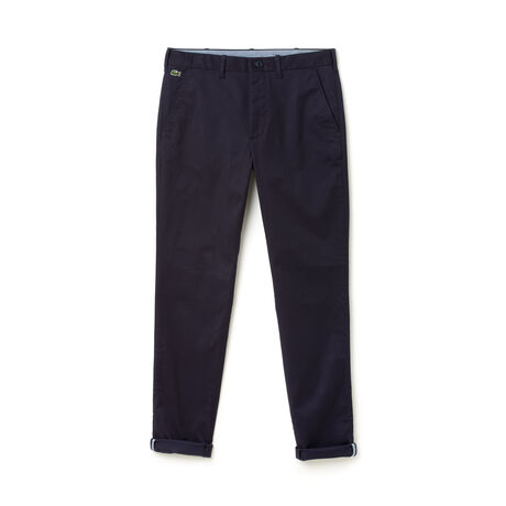 Pantaloni chino Lacoste LIVE in twill stretch tinta unita