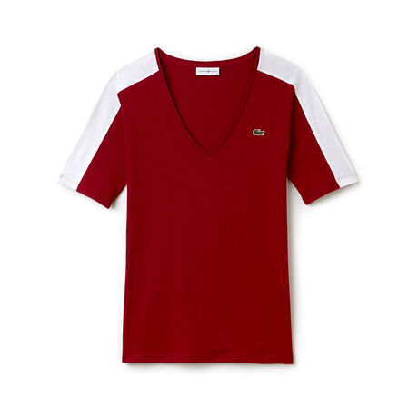 T-shirt con collo a V Tennis Lacoste SPORT in jersey fluido