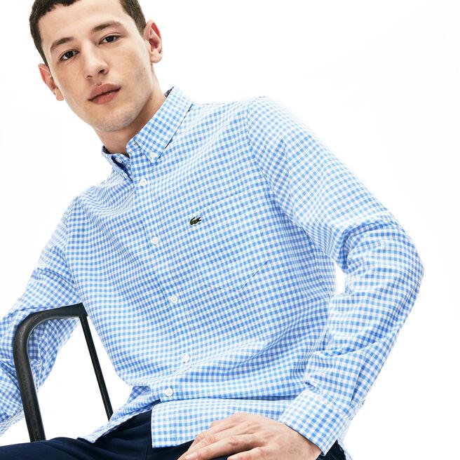 Camicia regular fit in popeline di cotone a mini quadretti
