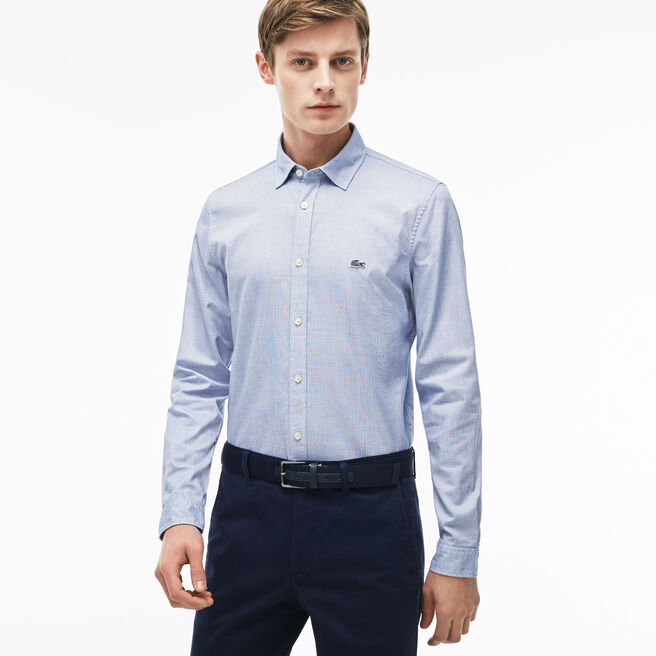 Camisa Slim Fit em popelina jacquard às pintas