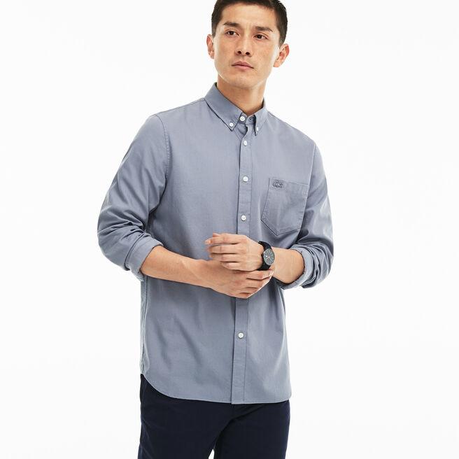 Camisa Regular Fit em popelina jacquard às pintas