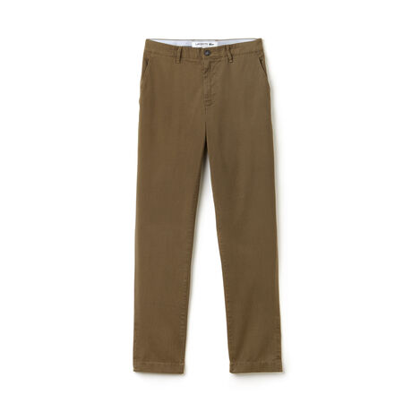 Calças chino slim fit em twill stretch com impressão