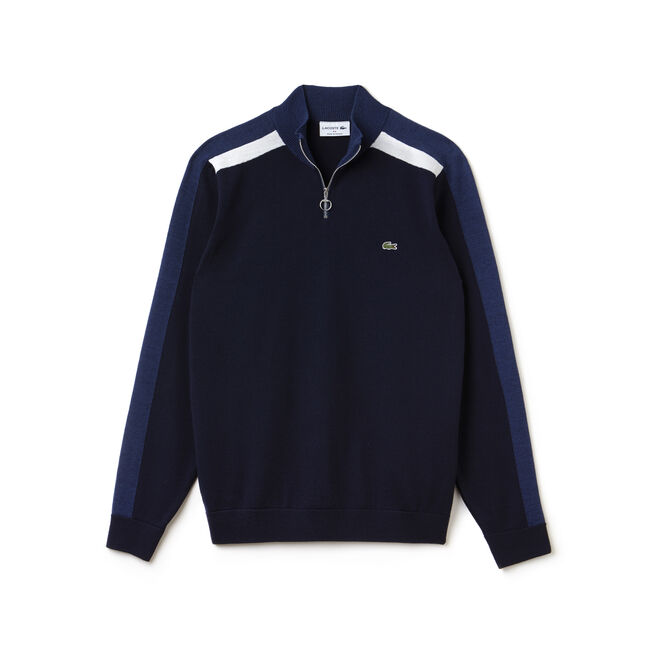 Camisola com gola com fecho de correr Made in France em jersey com faixas color block