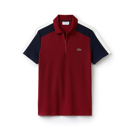 Polo regular fit Lacoste Made in France em piqué color block