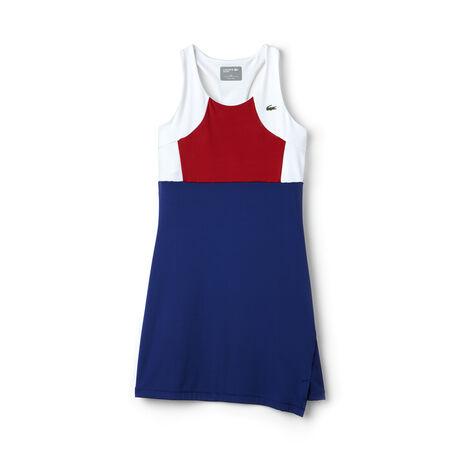 Vestido decote nadador nas costas Tennis Lacoste SPORT em jersey técnico color block