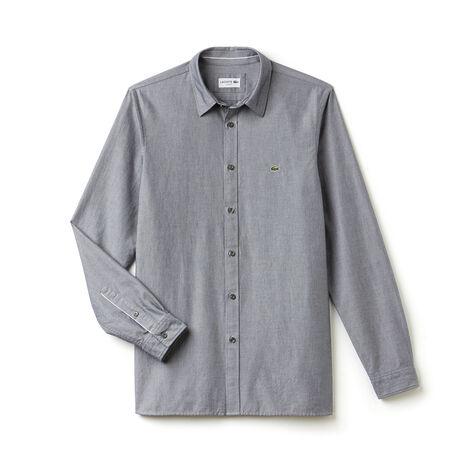 Camisa Slim Fit em piqué de algodão unicolor