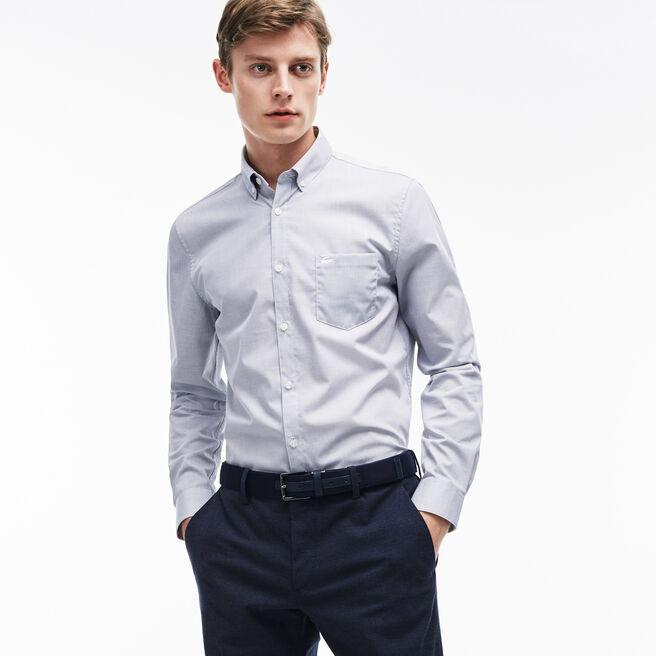Camisa Regular Fit em popelina texturada unicolor