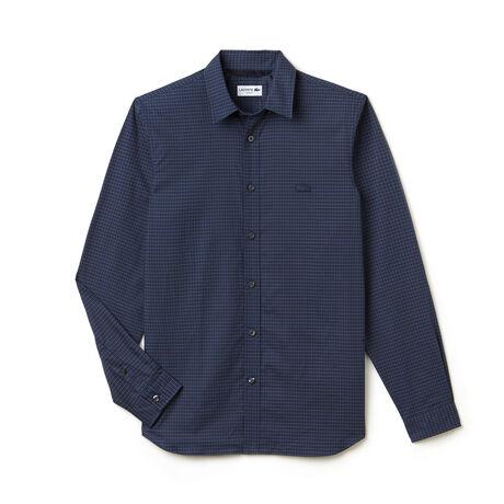 Camisa slim fit em popelina de algodão com impressão