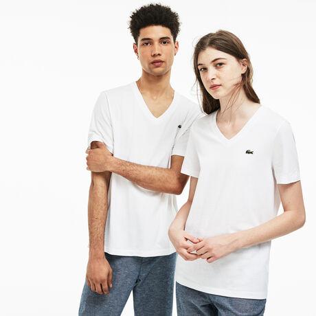 T-shirt decote em V Lacoste LIVE em jersey de algodão unicolor