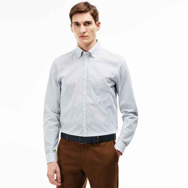 Camisa Slim Fit em popelina jacquard às pintas e riscas