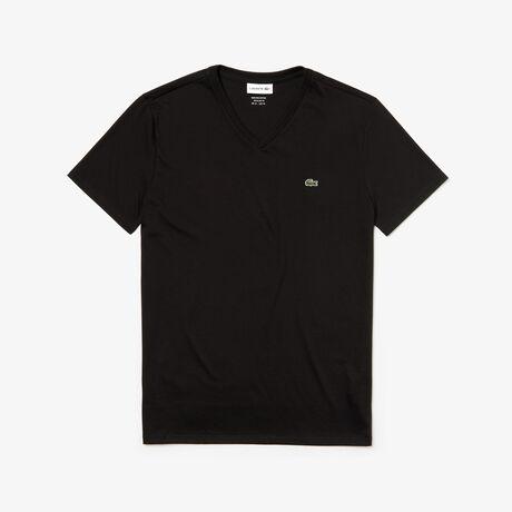 T-shirt decote em V em jersey de algodão pima unicolor