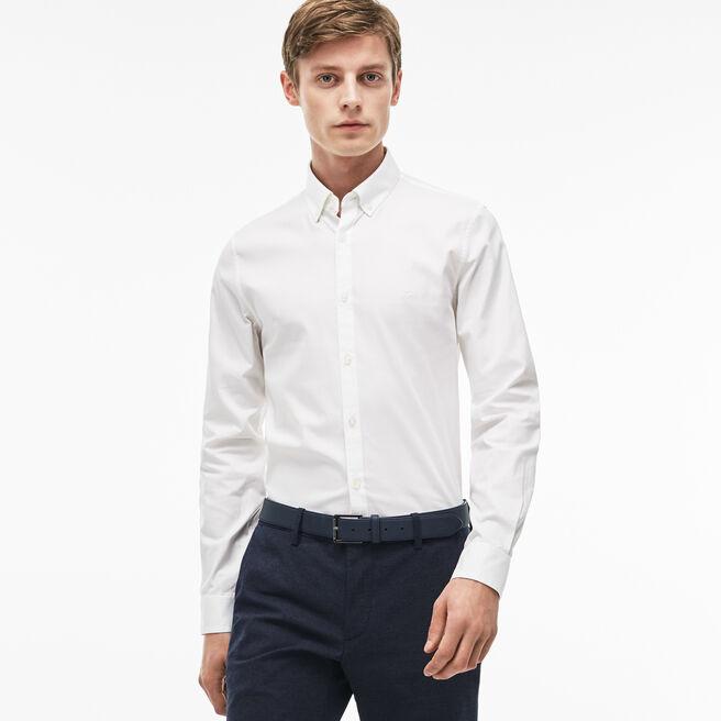 Camisa Slim Fit em pinpoint de algodão stretch unicolor